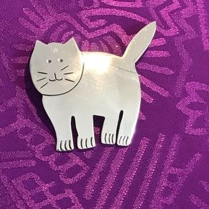 925 Sterling Silver Cat Pin